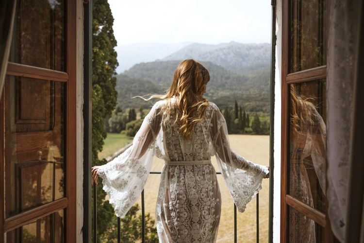 Bride in Lace Robe on Wedding Morning