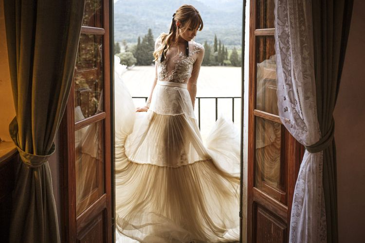 Bride in Company Novias Dress and Skirt Bridal Separates
