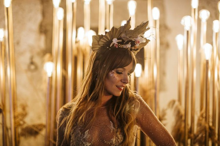 Stylish Bride with Face Glitter and Dried Palm Leaf Crown