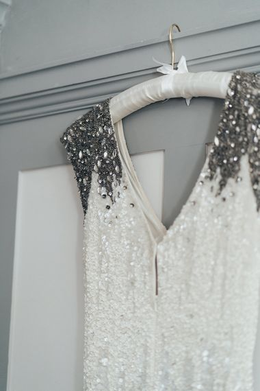 Embellished Shoulder Sequin Dress with Drop Waist by Eliza Jane Howell | Metallic Confetti Cannons and Paper Lanterns with Bride in Beaded Shoulder Eliza Jane Howell Dress | Miss Gen Photography