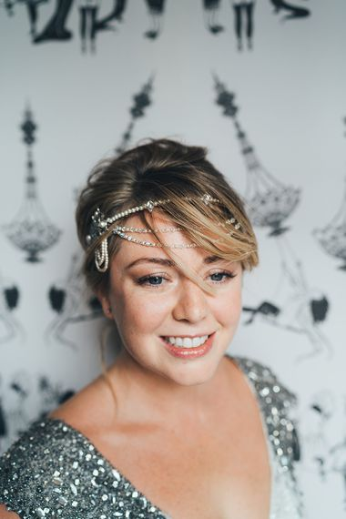 Bride in Embellished Shoulder Sequin Dress with Drop Waist by Eliza Jane Howell | 1920s Style Pearl Draping Headpiece | Metallic Confetti Cannons and Paper Lanterns with Bride in Beaded Shoulder Eliza Jane Howell Dress | Miss Gen Photography