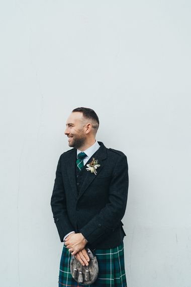 Groom in Green and Blue Tartan Kilt | Metallic Confetti Cannons and Paper Lanterns with Bride in Beaded Shoulder Eliza Jane Howell Dress | Miss Gen Photography