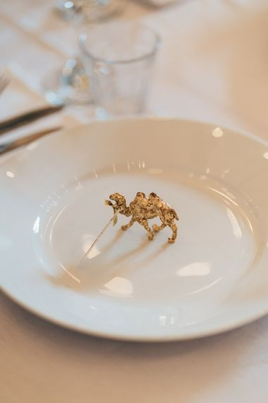 Gold Giraffe Place Settings | Wedding Reception at Clapton Country Club | Metallic Confetti Cannons and Paper Lanterns with Bride in Beaded Shoulder Eliza Jane Howell Dress | Miss Gen Photography