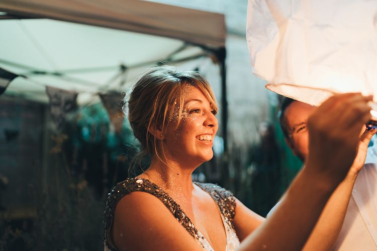 Bride in Embellished Shoulder Sequin Dress with Drop Waist by Eliza Jane Howell | Glitter Paint | Paper Lantern | Clapton Country Club Wedding Reception | Metallic Confetti Cannons and Paper Lanterns with Bride in Beaded Shoulder Eliza Jane Howell Dress | Miss Gen Photography