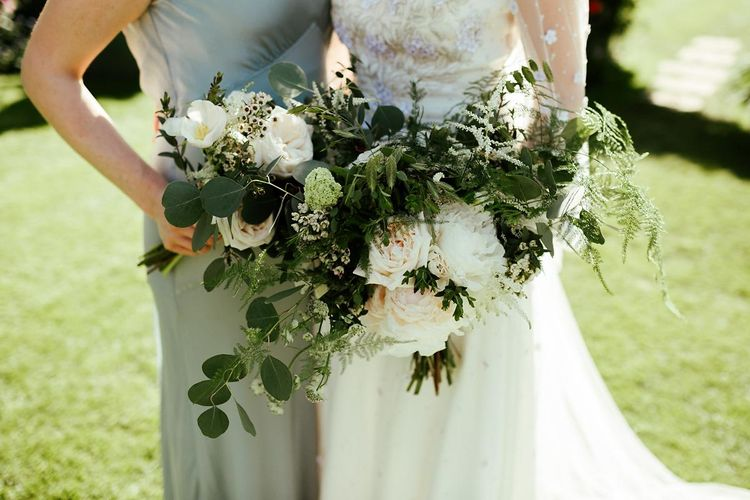 Foliage & White Flower Wedding Bouquet // Juliet Cap Veil For A Wildflower Filled Wedding At Chenies Manor // Bride In Apache By Jenny Packham // Image By Eneka Stewart Photography