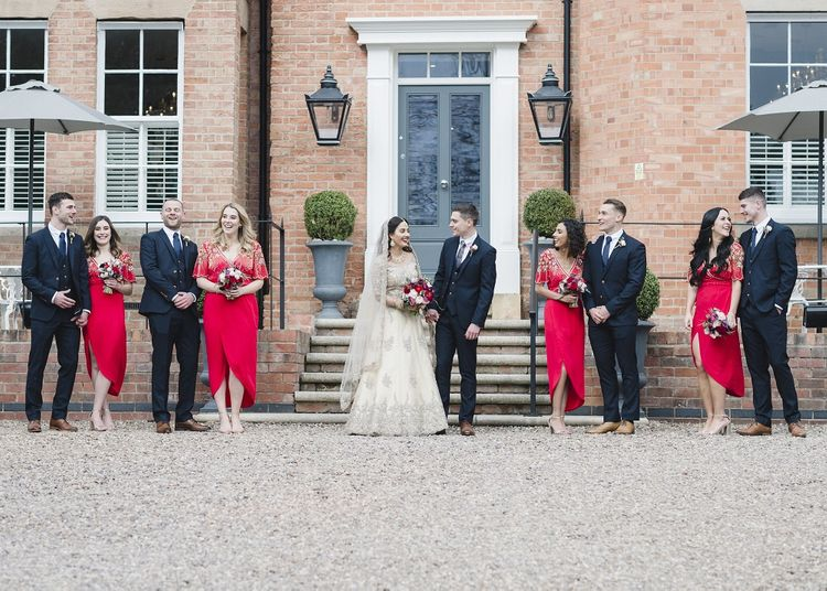 Red bridesmaid dresses for multicultural wedding
