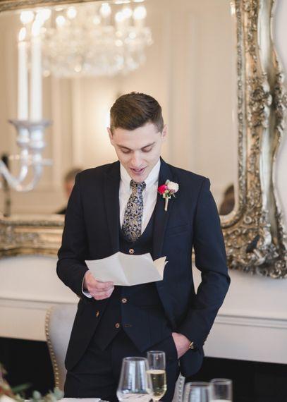 Groom during emotional wedding speeches
