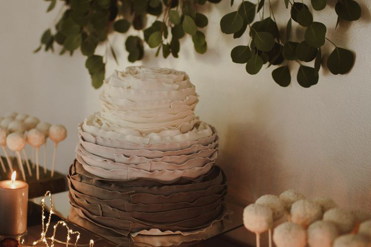 Ombre Grey Cake With Ruffled Icing For Wedding // Bride In St Patrick // Groom In Burgundy Suit // Exclusive Hire Wedding Venue In Nida Lithuania // Images By Motiejus