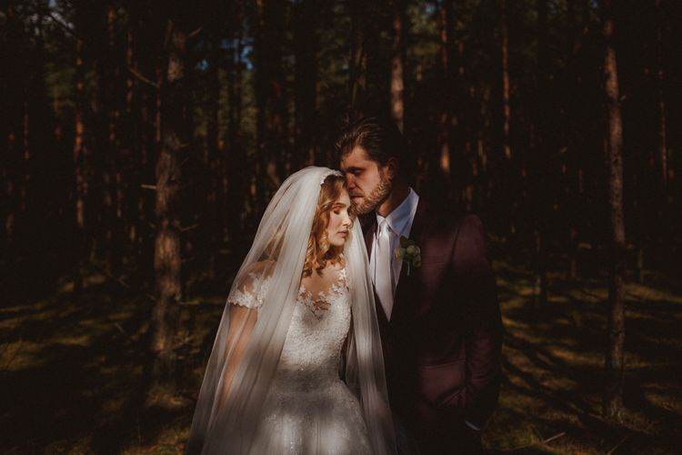 Bride In St Patrick // Groom In Burgundy Suit // Exclusive Hire Wedding Venue In Nida Lithuania // Images By Motiejus