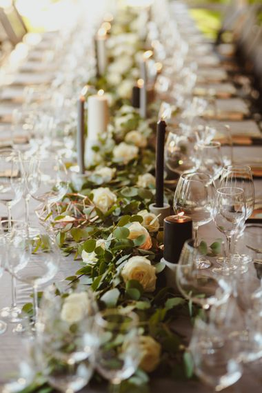 Foliage & Cream Rose Floral Runners For Wedding // Bride In St Patrick // Groom In Burgundy Suit // Exclusive Hire Wedding Venue In Nida Lithuania // Images By Motiejus