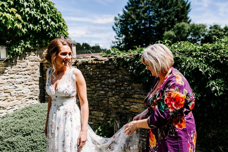 Bride In Floral Dress By Stephanie Allin Festival Wedding With Food Trucks & Outdoor Ceremony With Geo Dome Tent Baya Hire Epic Love Story Photography