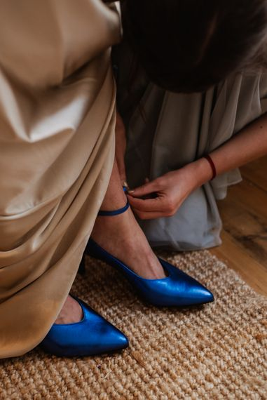 'Something Blue' Wedding Shoes For Bride // Christmas London Fields Brewery Wedding With Bride In Bespoke Dress By Katrine Mikklesen And Images From Taylor Hughes Photography
