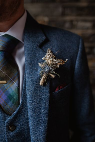 Dried Flower Buttonhole For Groom // Christmas London Fields Brewery Wedding With Bride In Bespoke Dress By Katrine Mikklesen And Images From Taylor Hughes Photography