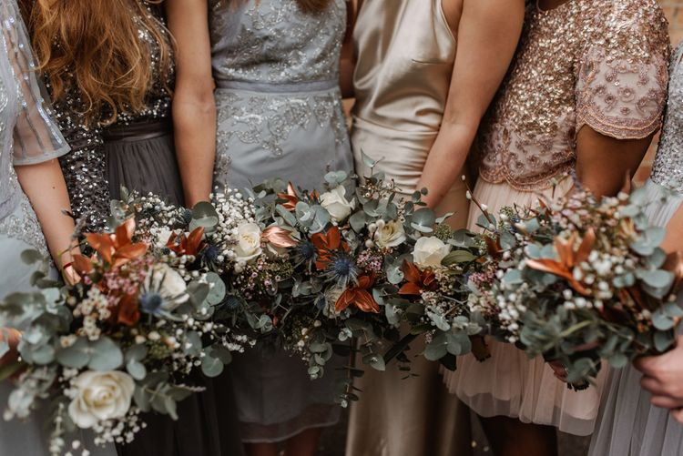 Winter Wedding Bouquets // London Fields Brewery Wedding With Bride In Bespoke Dress By Katrine Mikklesen And Images From Taylor Hughes Photography