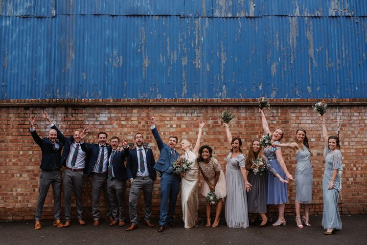 Bridesmaids In Sequinned Mismatched Dresses // London Fields Brewery Wedding With Bride In Bespoke Dress By Katrine Mikklesen And Images From Taylor Hughes Photography