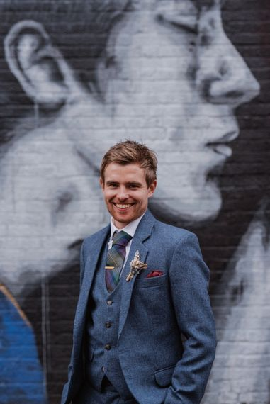 Groom In Blue Three Piece Suit // London Fields Brewery Wedding With Bride In Bespoke Dress By Katrine Mikklesen And Images From Taylor Hughes Photography