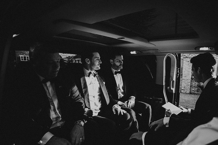Groomsmen in Tuxedos | Botanical Black Tie Wedding at Rivington Hall Barn with Acrylic Candelabras & Louis Ghost Chairs | Lawson Photography | Ever After Videos