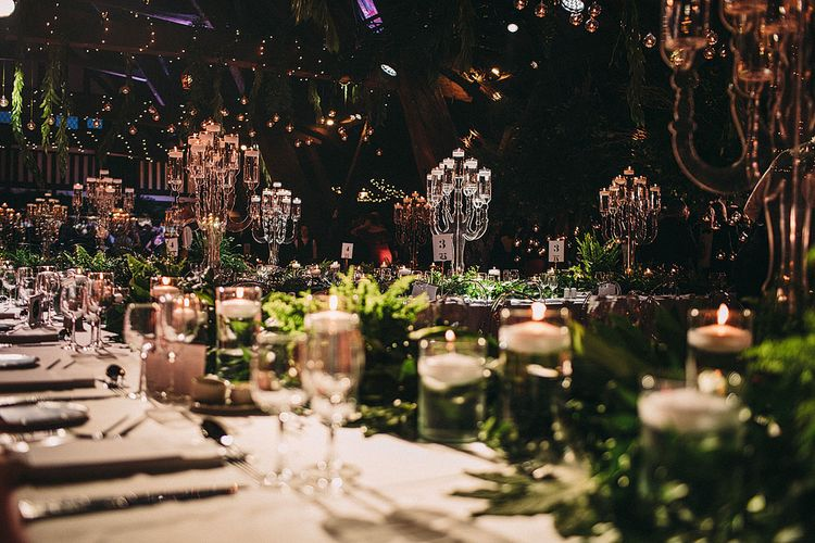 Botanical Black Tie Wedding at Rivington Hall Barn with Acrylic Candelabras & Louis Ghost Chairs | Lawson Photography | Ever After Videos