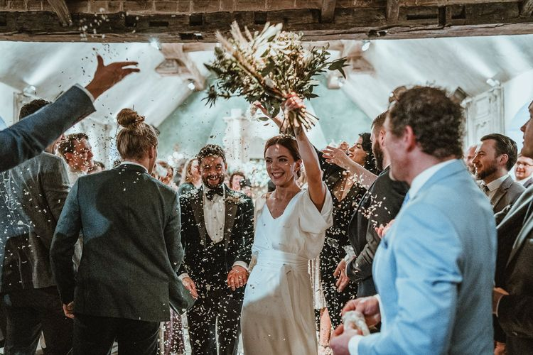 Confetti shot at luxury French country manor