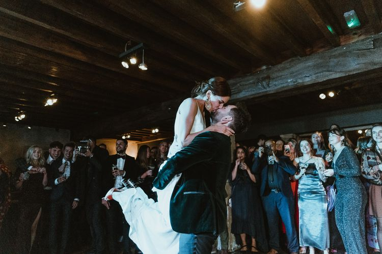First dance at luxury French country manor for a winter wedding