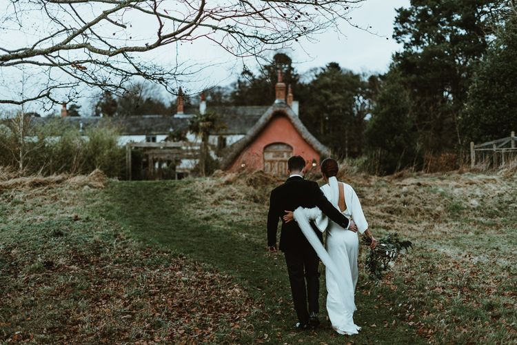 Bride and groom at Le Petit Chateau in Northumberland for winter wedding