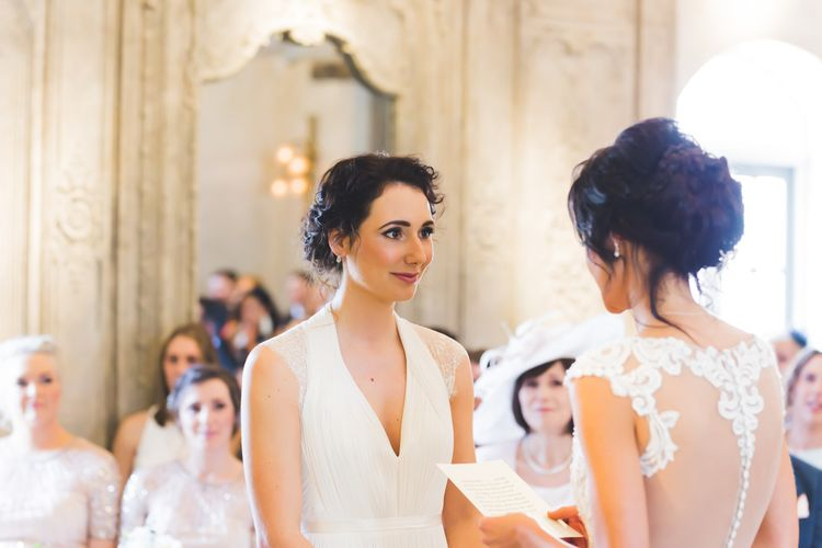 Wedding Ceremony // Le Petit Chateau Northumberland Wedding Venue For Fun Wedding With Two Brides And Images From Willo Photography