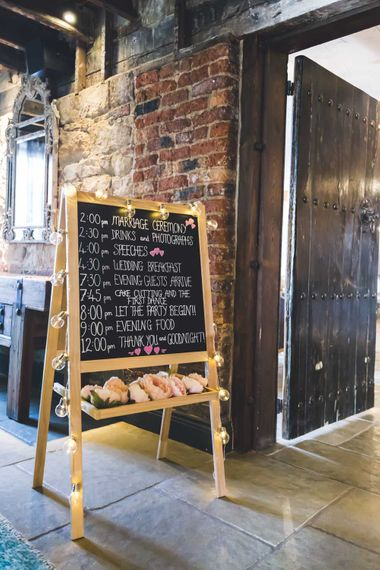 Chalkboard Order Of The Day Wedding Sign // Le Petit Chateau Northumberland Wedding Venue For Fun Wedding With Two Brides And Images From Willo Photography