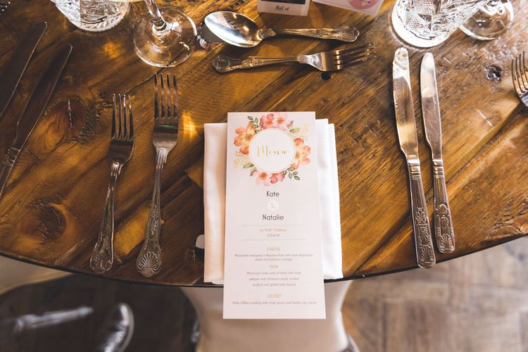 Floral Wedding Stationery // Le Petit Chateau Northumberland Wedding Venue For Fun Wedding With Two Brides And Images From Willo Photography