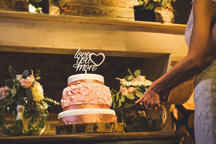 Wedding Cake With 'Love You More' Topper // Le Petit Chateau Northumberland Wedding Venue For Fun Wedding With Two Brides And Images From Willo Photography
