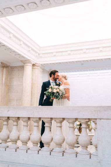 Bride and groom portrait at Old Marylebone Town Hall by Miss Gen