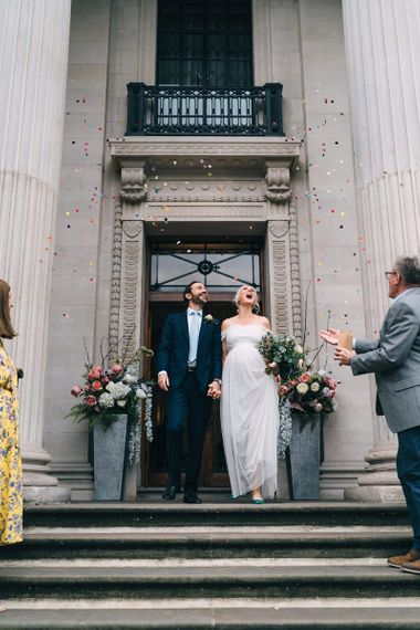 Colourful confetti moment at intimate Old Marylebone Town Hall wedding