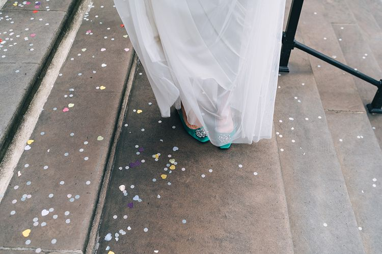 Green satin wedding shoes with jewel detail