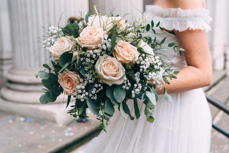 blush pink roses and gypsophila wedding bouquet