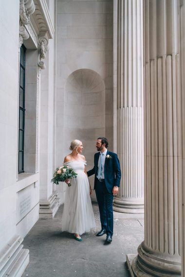 Bride and groom at July 2020 wedding by Miss Gen