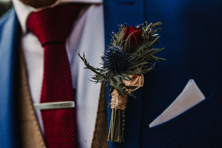 Thistle Buttonhole For Groom // Glamorous Iscoyd Park Wedding With Burgundy, Navy And Ivory Colour Scheme With Artistic And Alternative Images From Carla Blain Photography