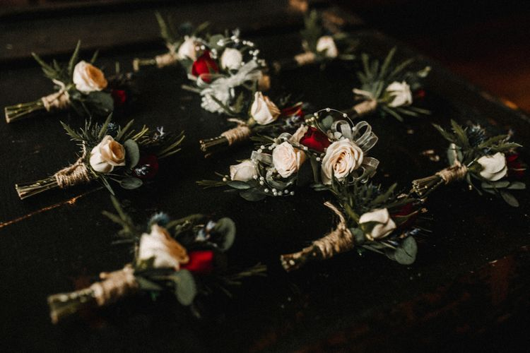 Buttonholes For Wedding // Glamorous Iscoyd Park Wedding With Burgundy, Navy And Ivory Colour Scheme With Artistic And Alternative Images From Carla Blain Photography