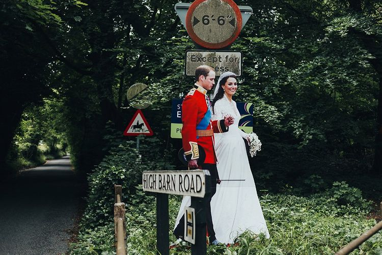 Cardboard Cutout of Prince William and Kate Middleton on Their Wedding Day