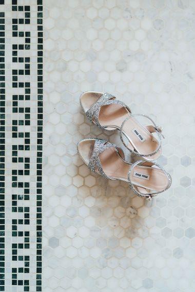 Silver Glitter Miu Miu Block Heel Bridal Shoes