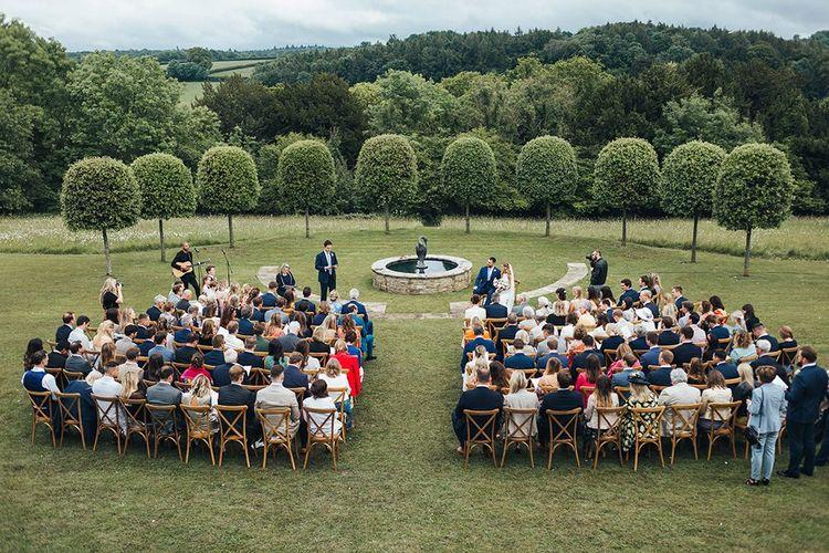 Outdoor Wedding Ceremony at The Brides Parents Home in Surrey