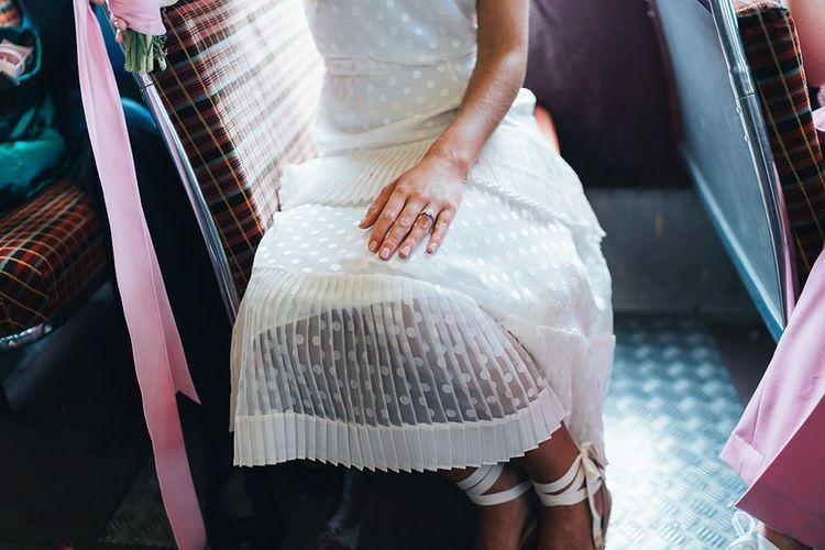 Wedding Dress Details with Castaner Shoes