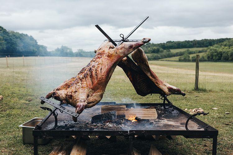 Hog Roast on Fire Pit for Wedding Breakfast