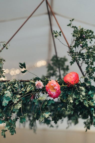 Pink Peony and Foliage Hanging Chandelier