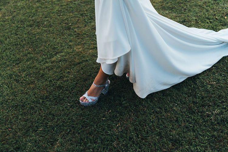 Silver Sequin Mui Mui Bridal Shoes