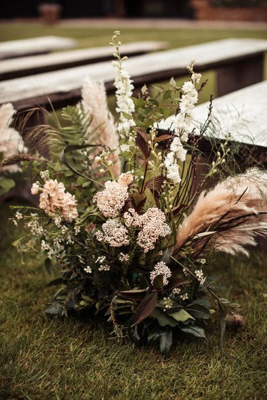Wedding Flowers For Aisle At Outdoor Ceremony