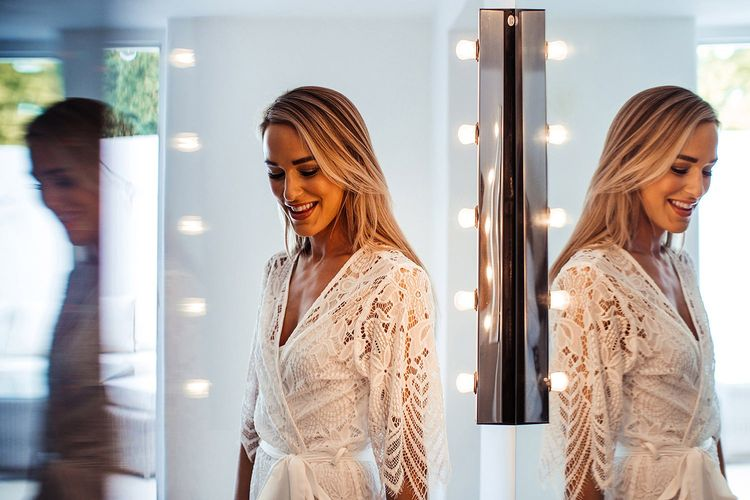 Bride In Lace Getting Ready Robe