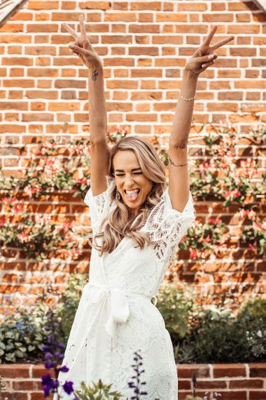 Bride Celebrates During Getting Ready