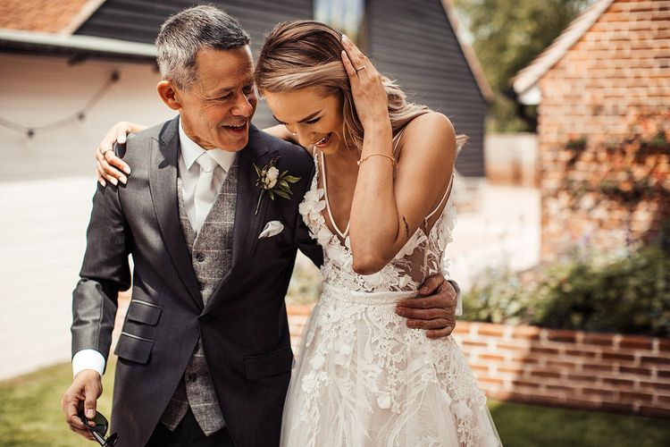 Bride Walks With Father To Outdoor Ceremony Followed by Barn Wedding
