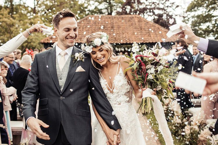 Bride and Groom Confetti Exit With Flower Crown