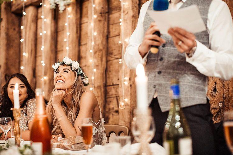 Groom Makes Speech As Bride Looks On Wearing Flower Crown