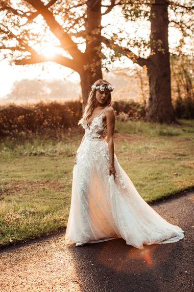 Bride Wears Flower Crown And Flower Applique Wedding Dress